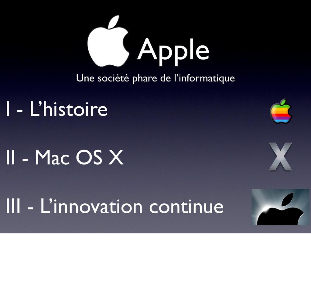 !Apple I - L'histoire II - Mac OS X III - L'inn...