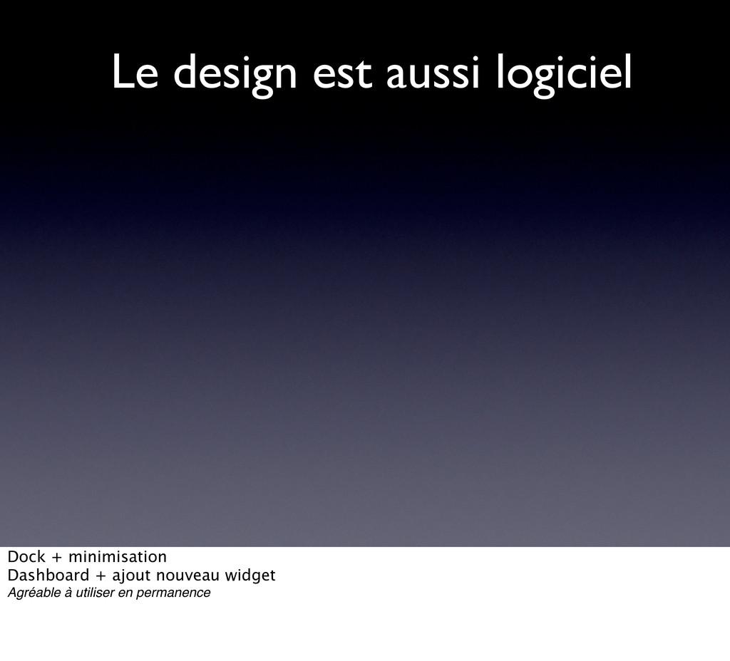 Le design est aussi logiciel Dock + minimisatio...