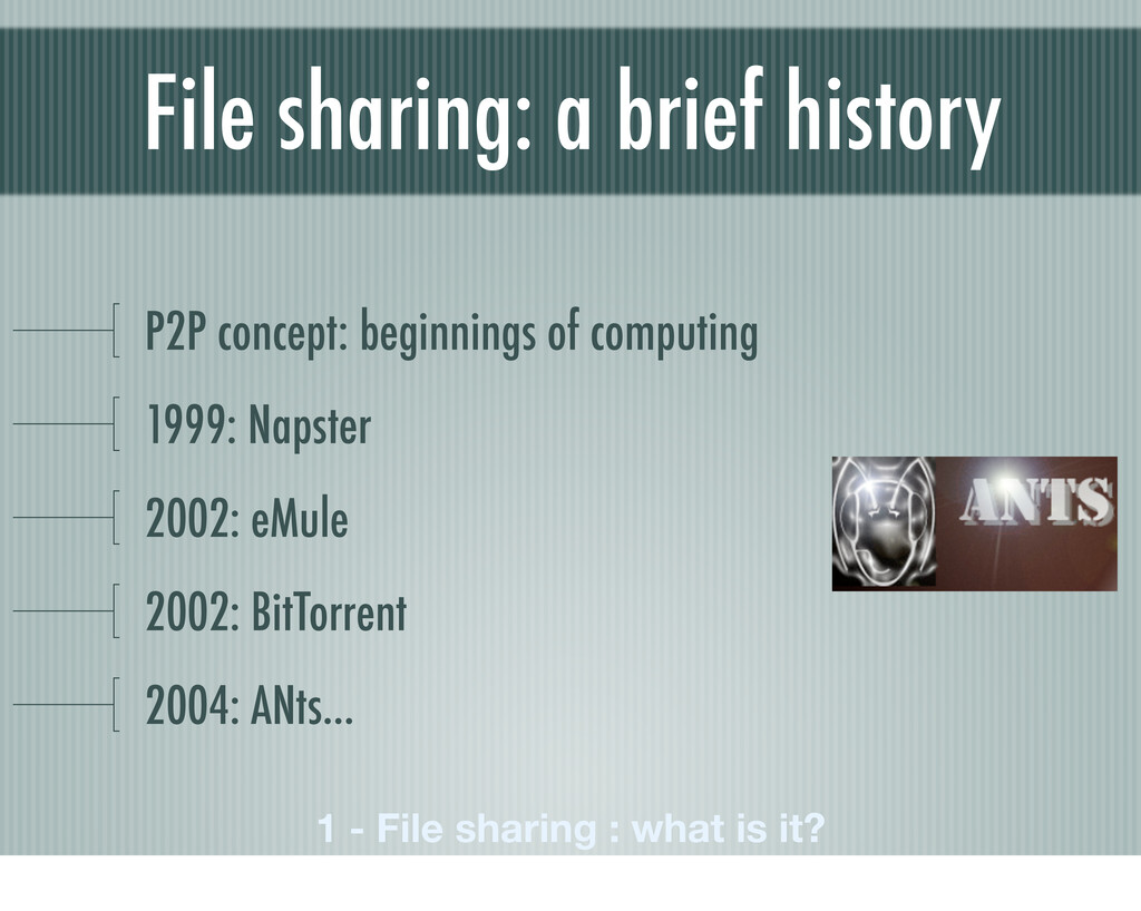 File sharing: a brief history P2P concept: begi...