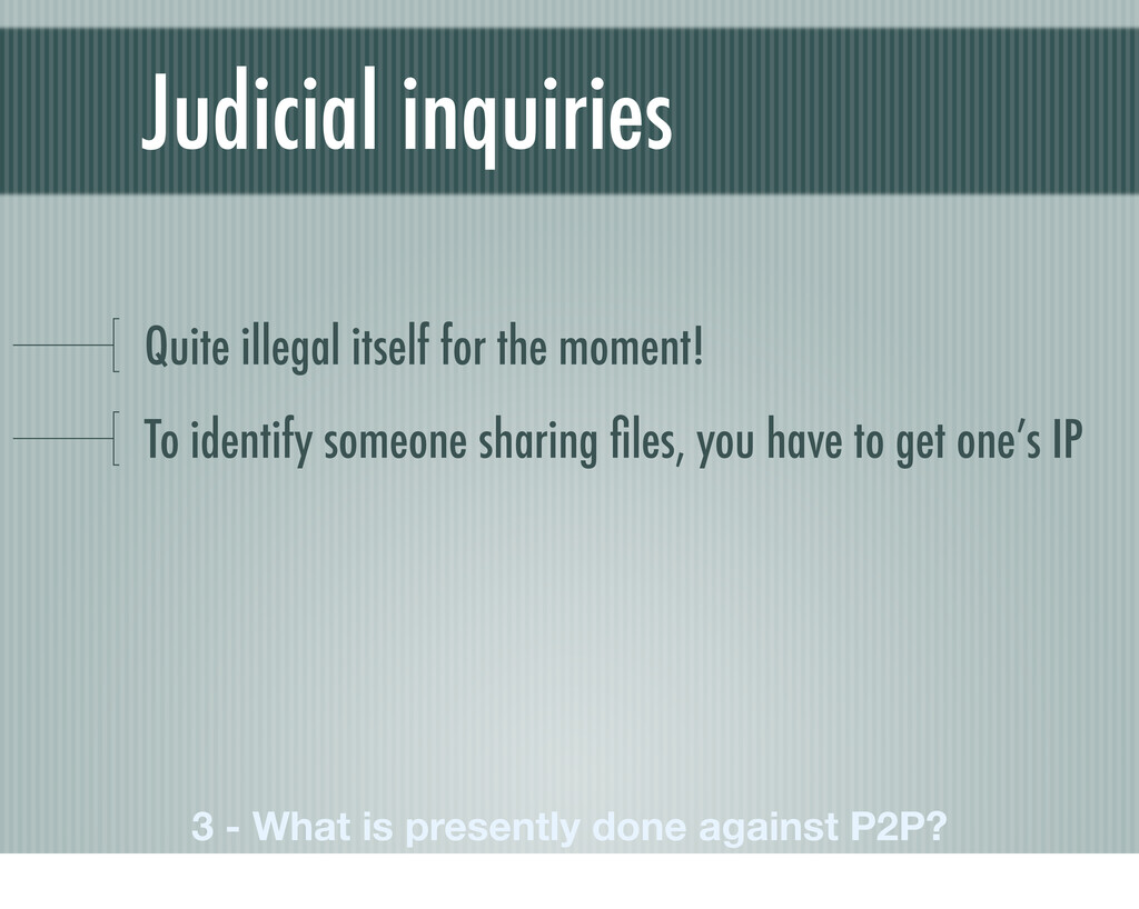 Judicial inquiries Quite illegal itself for the...
