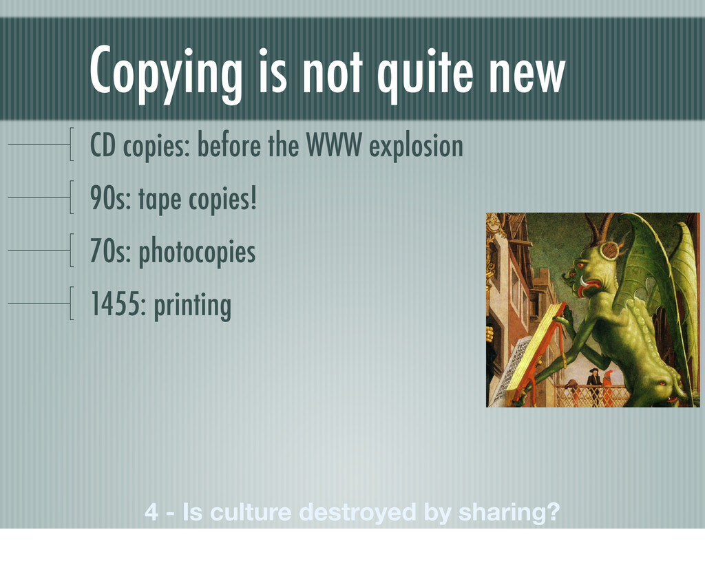 Copying is not quite new CD copies: before the ...