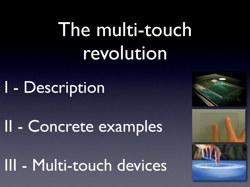 I - Description II - Concrete examples III - Mu...