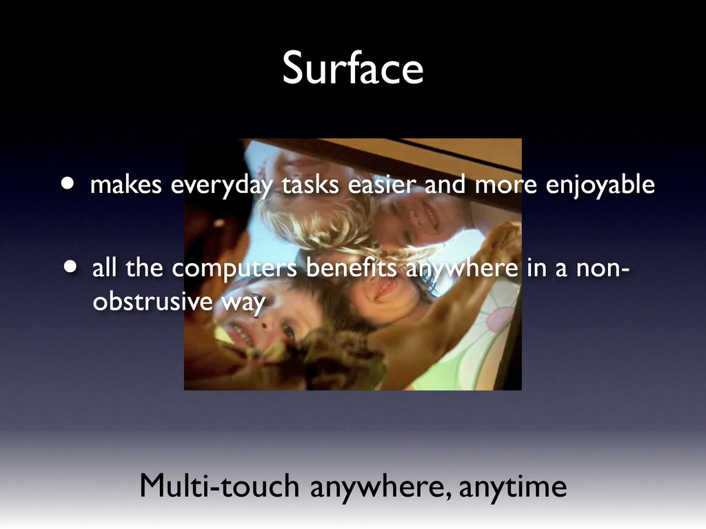 Multi-touch anywhere, anytime Surface • makes e...