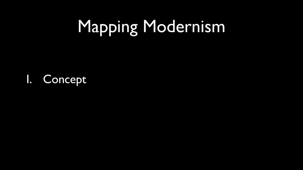 Mapping Modernism I. Concept