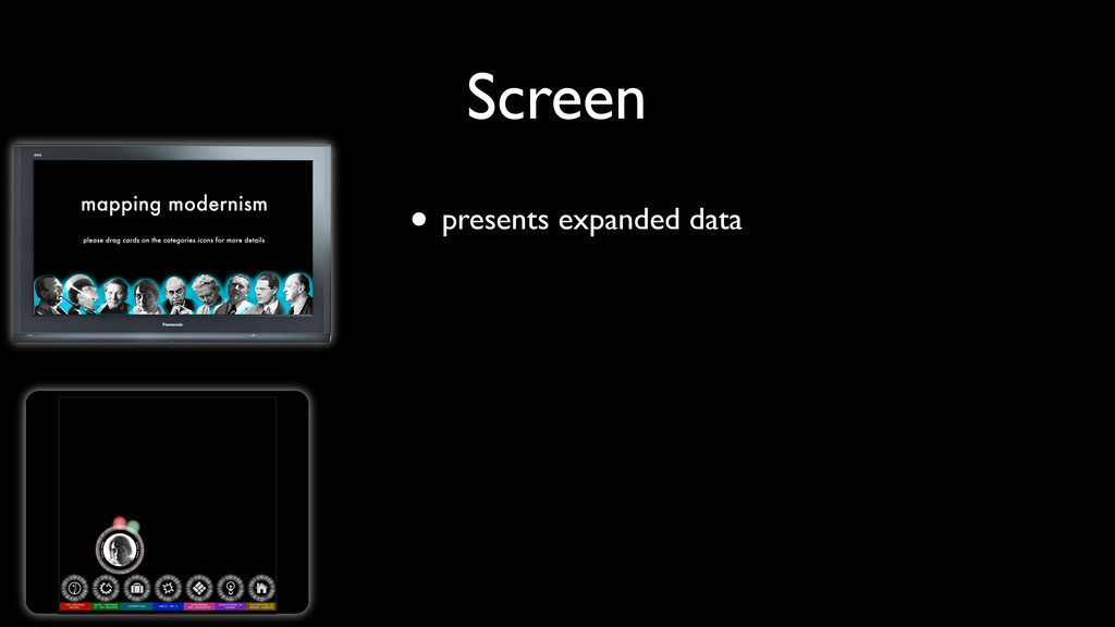 • presents expanded data Screen