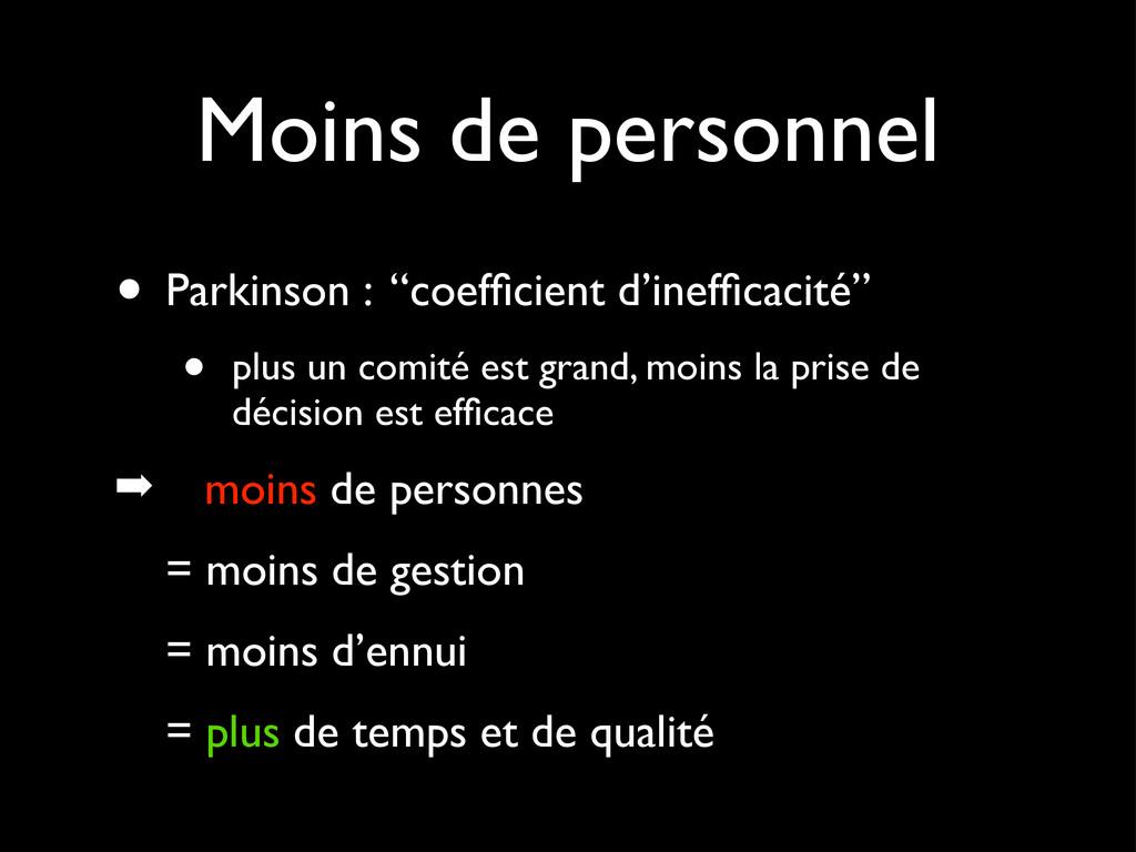 """Moins de personnel • Parkinson : """"coefficient d'..."""