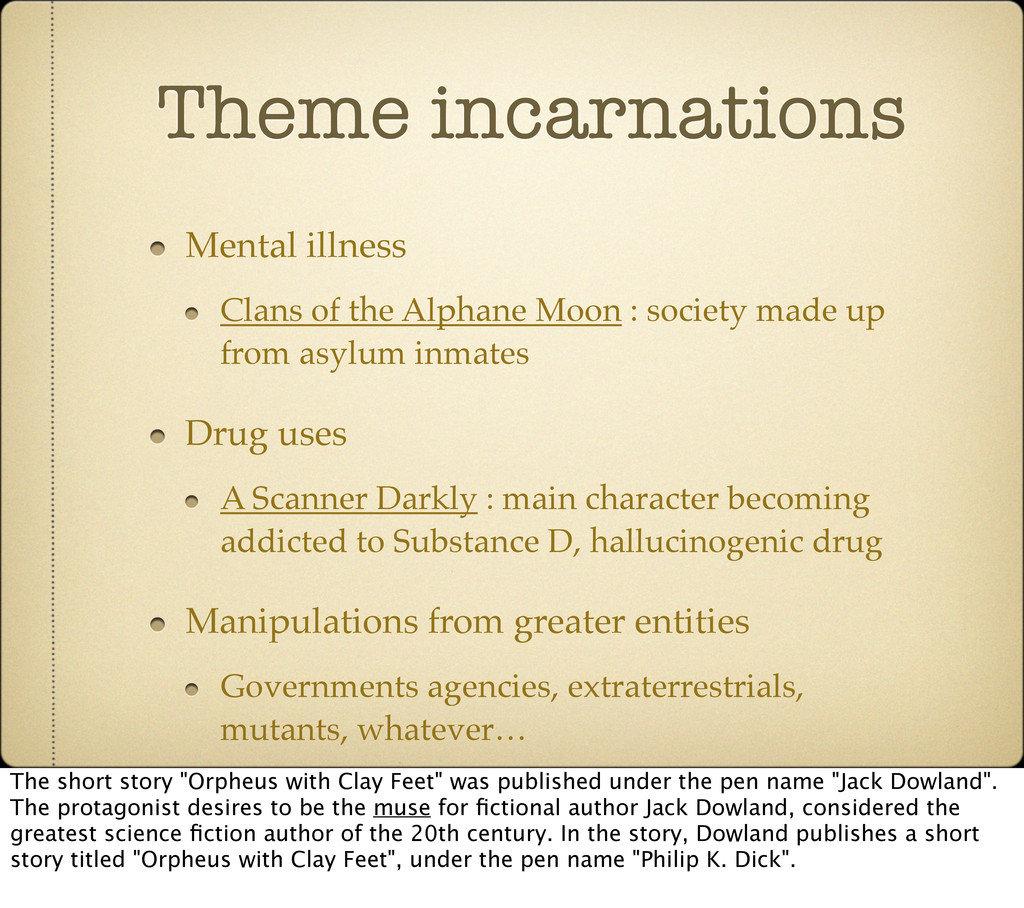 Theme incarnations Mental illness Clans of the ...