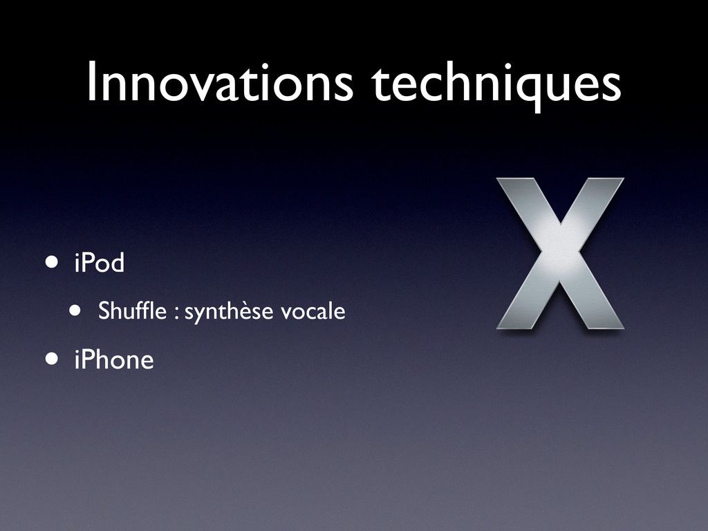 Innovations techniques • iPod • Shuffle : synthè...