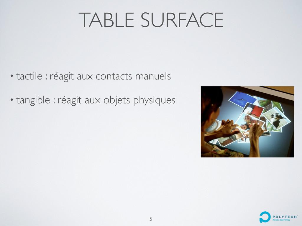TABLE SURFACE • tactile : réagit aux contacts m...