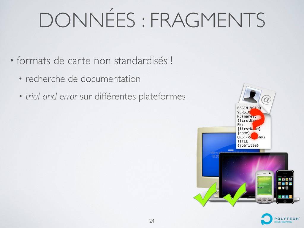 DONNÉES : FRAGMENTS • formats de carte non stan...