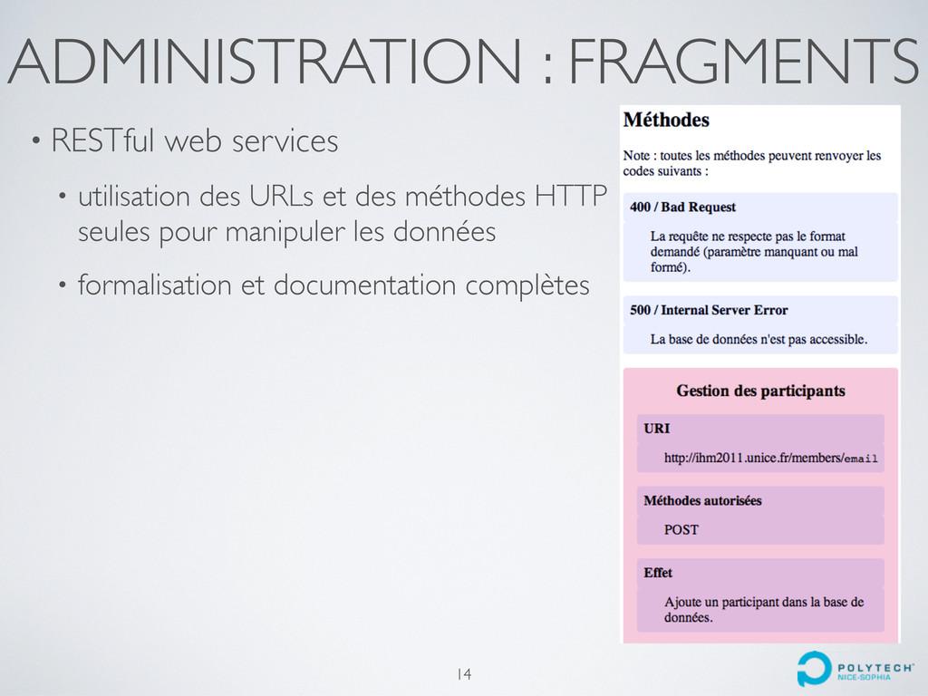 ADMINISTRATION : FRAGMENTS • RESTful web servic...
