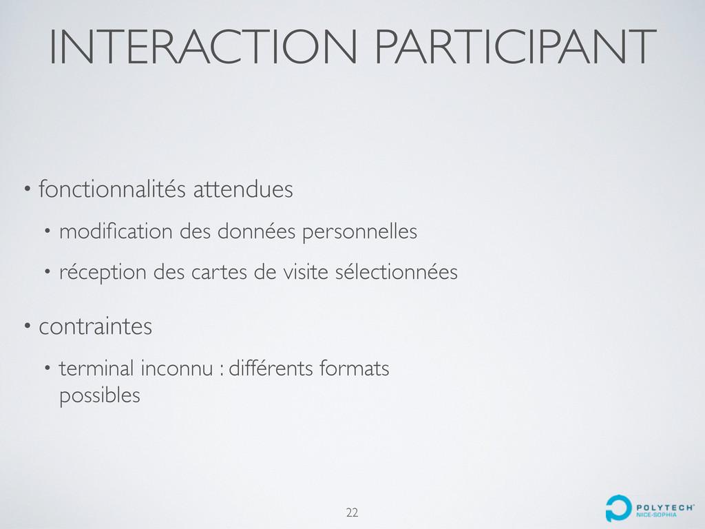 INTERACTION PARTICIPANT 22 • fonctionnalités at...