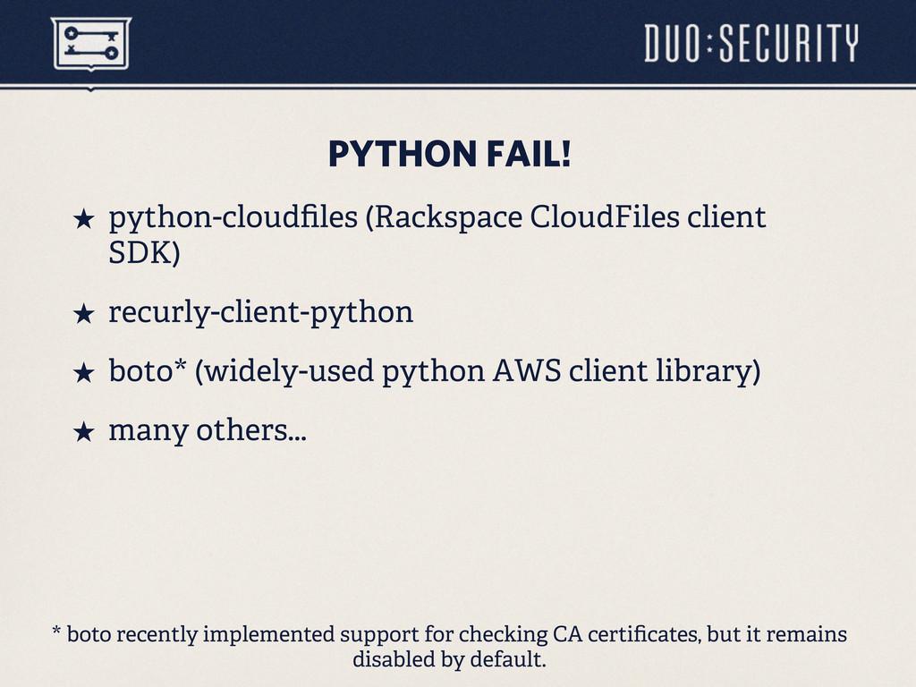 PYTHON FAIL! ˒ python-cloudfiles (Rackspace Clo...