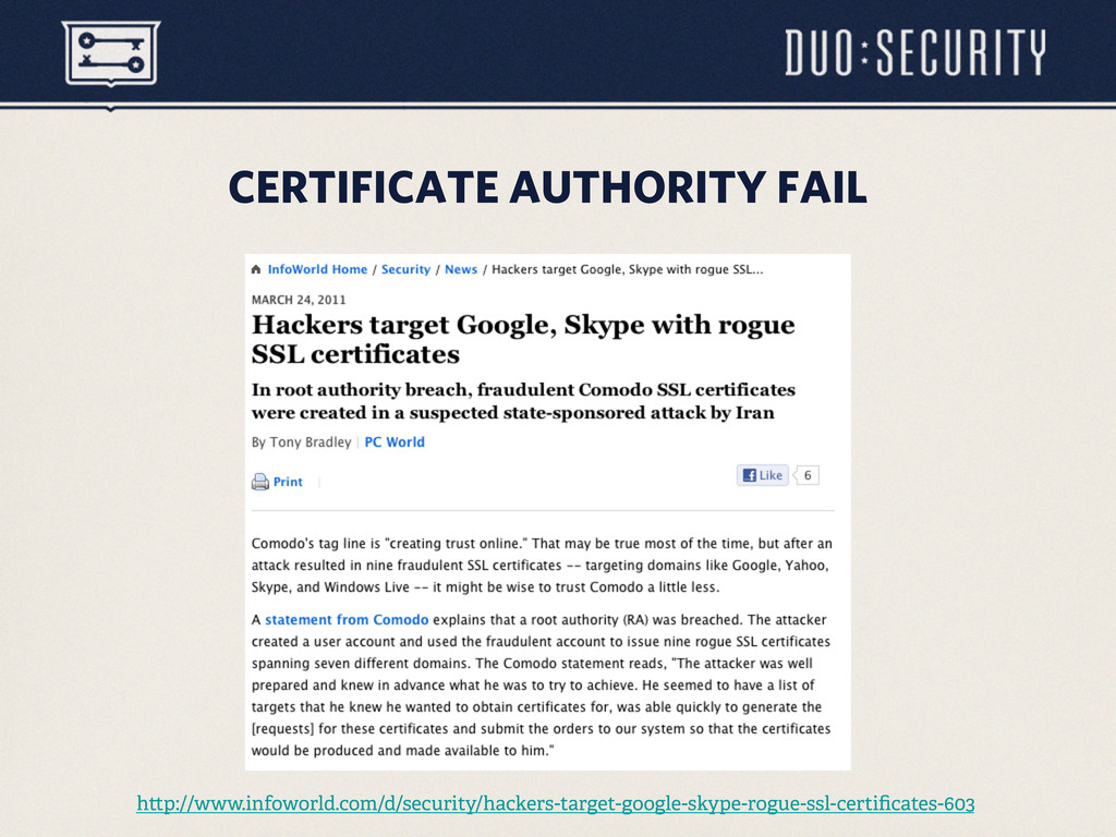 CERTIFICATE AUTHORITY FAIL h p://www.infoworld....