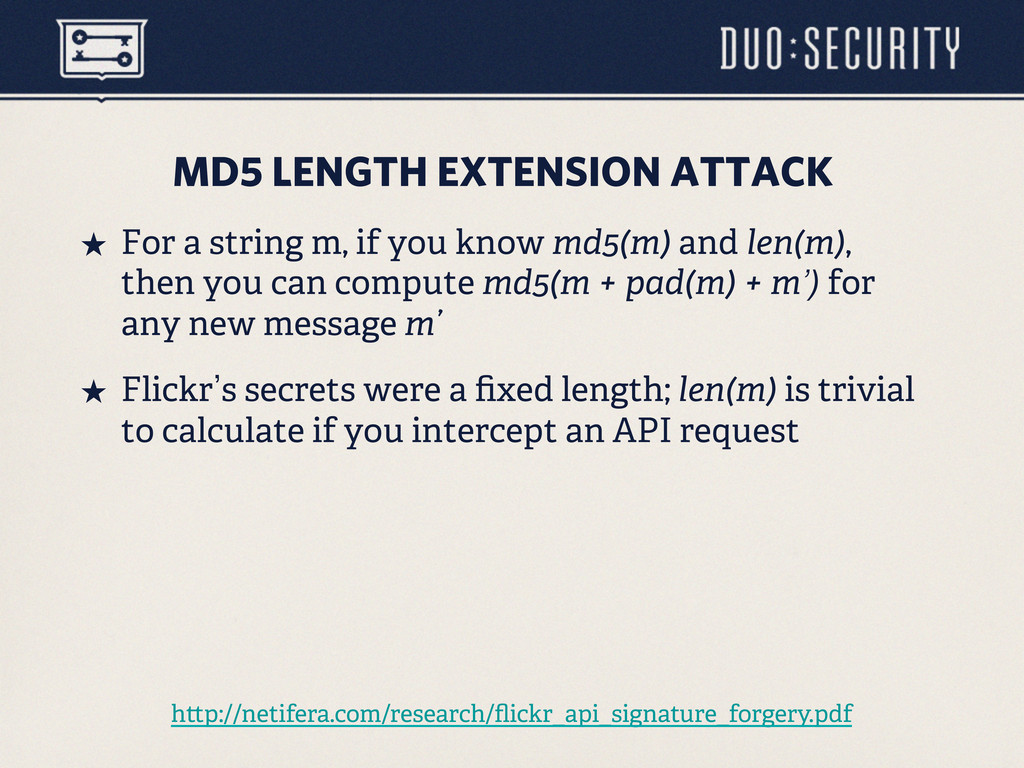 MD5 LENGTH EXTENSION ATTACK ˒ For a string m, ...