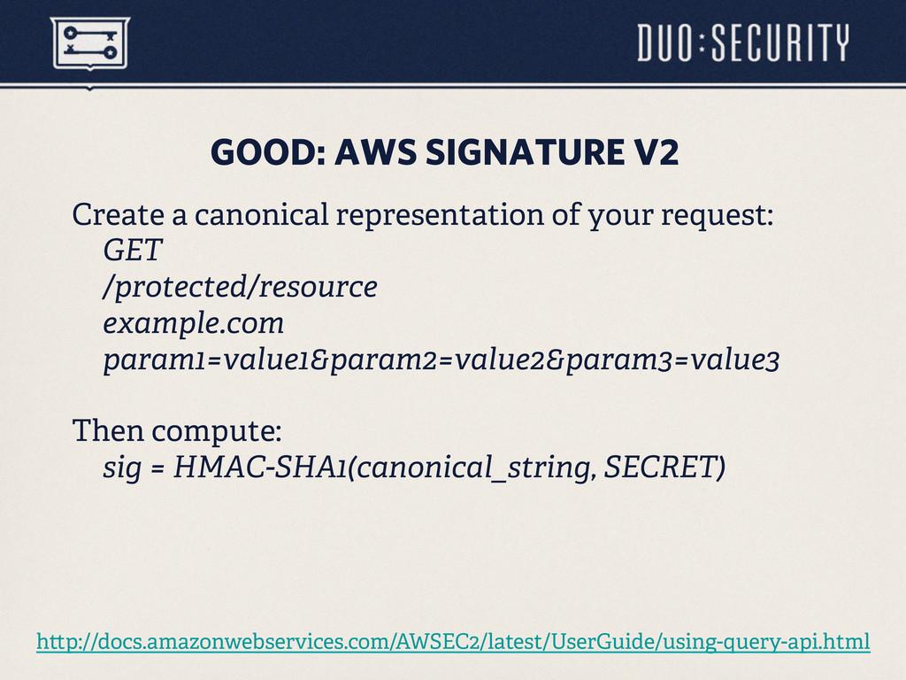 GOOD: AWS SIGNATURE V2 Create a canonical repre...