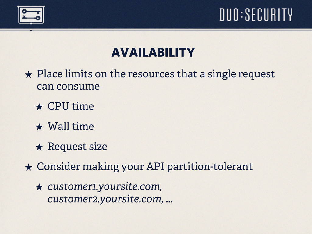 AVAILABILITY ˒ Place limits on the resources t...