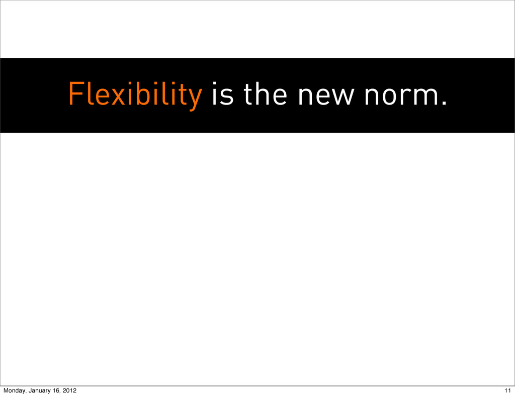 Flexibility is the new norm. 11 Monday, January...