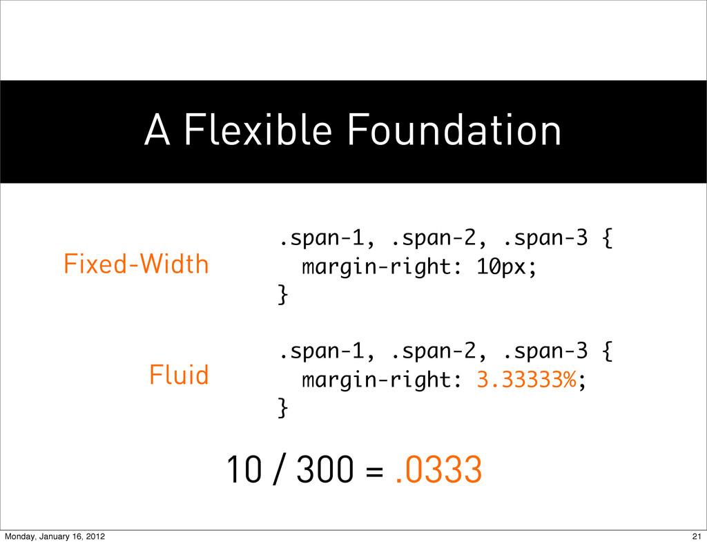 A Flexible Foundation .span-1, .span-2, .span-3...