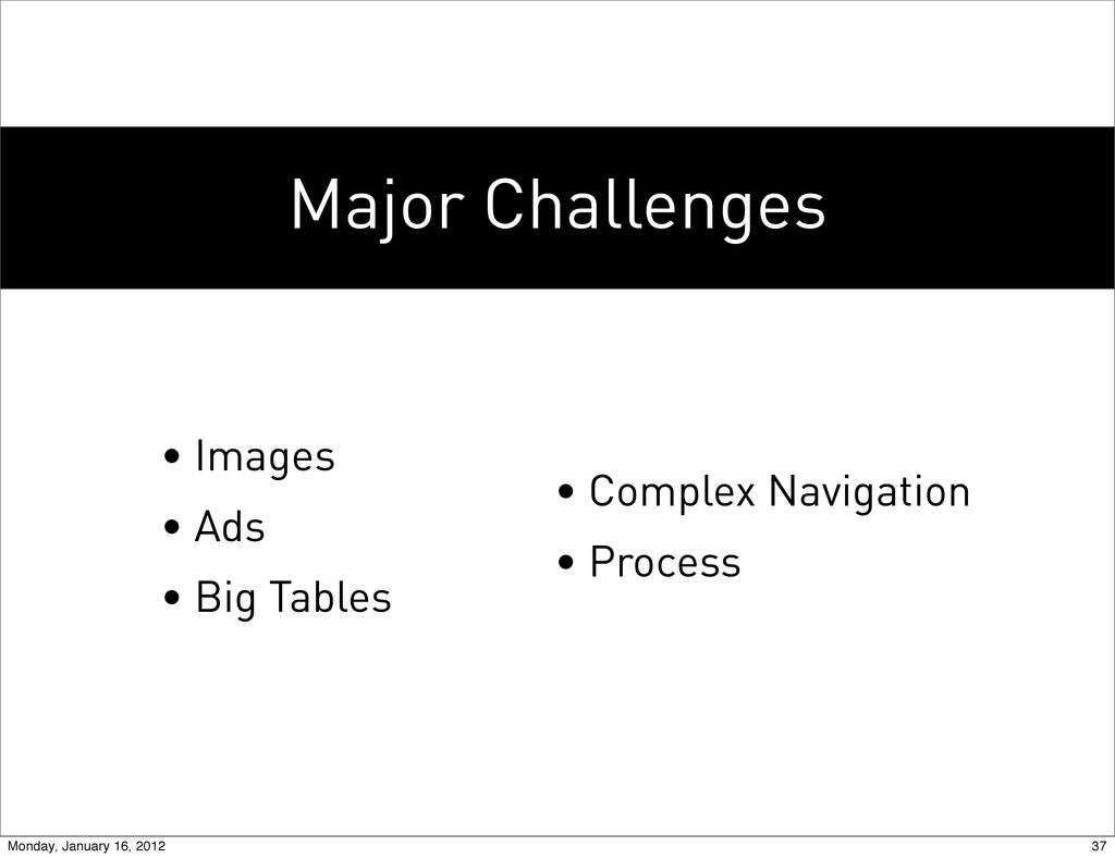 Major Challenges • Images • Ads • Big Tables • ...