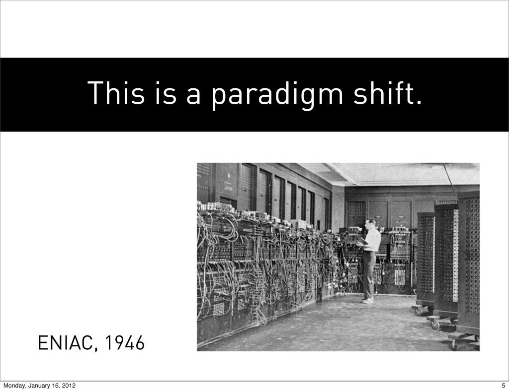 This is a paradigm shift. ENIAC, 1946 5 Monday,...