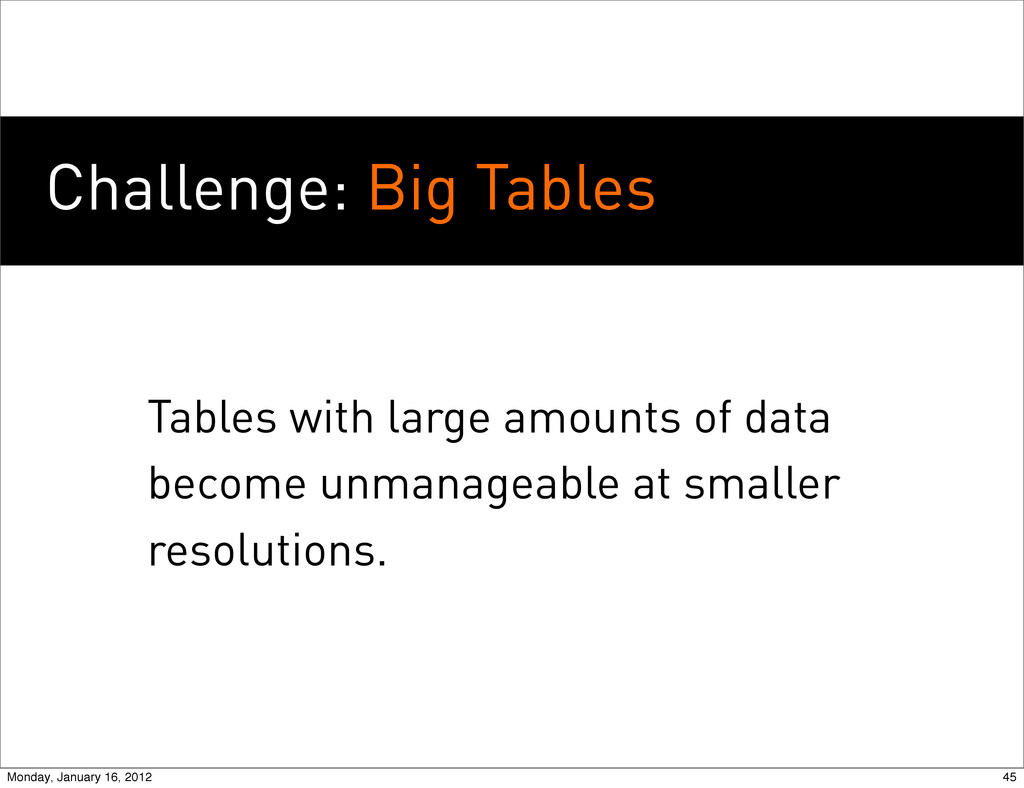 Challenge: Big Tables Tables with large amounts...