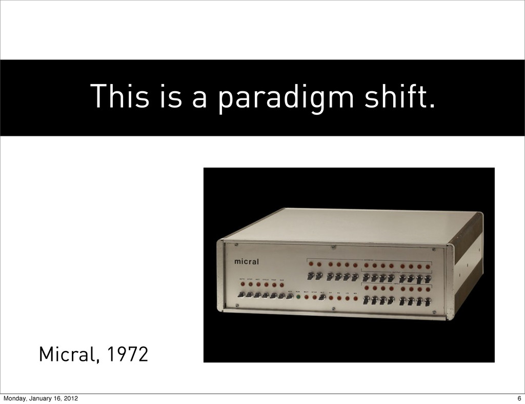 This is a paradigm shift. Micral, 1972 6 Monday...