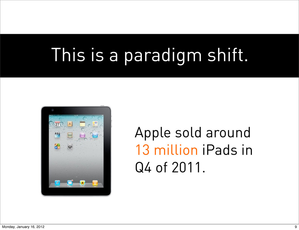 This is a paradigm shift. Apple sold around 13 ...