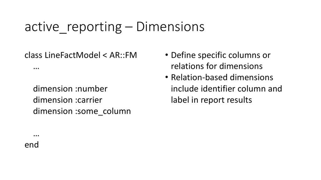 active_reporting – Dimensions class LineFactMod...