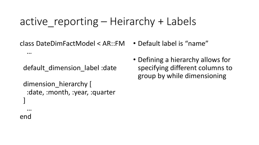 active_reporting – Heirarchy + Labels class Dat...