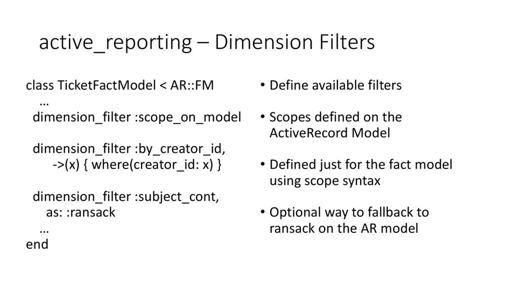 active_reporting – Dimension Filters class Tick...