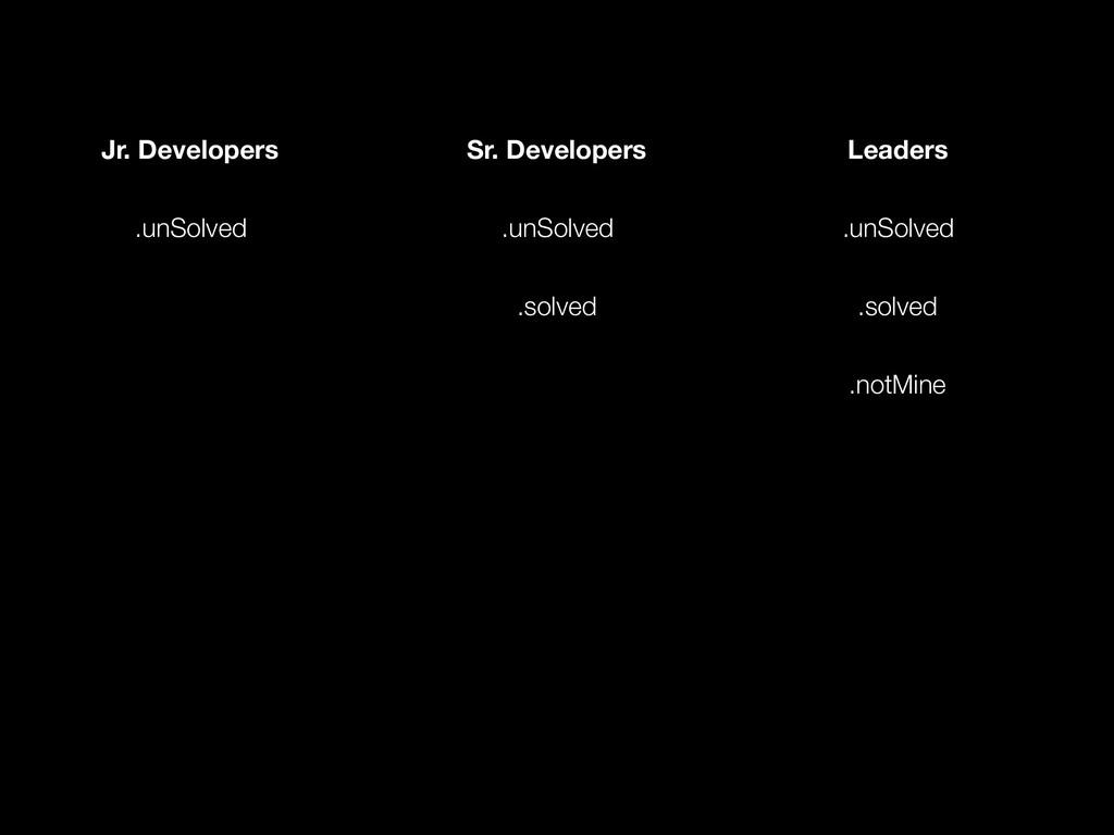 Jr. Developers Sr. Developers Leaders .unSolved...