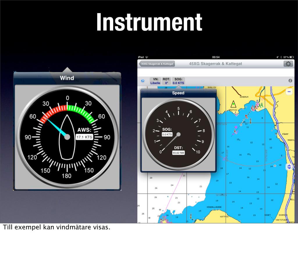 Instrument Till exempel kan vindmätare visas.
