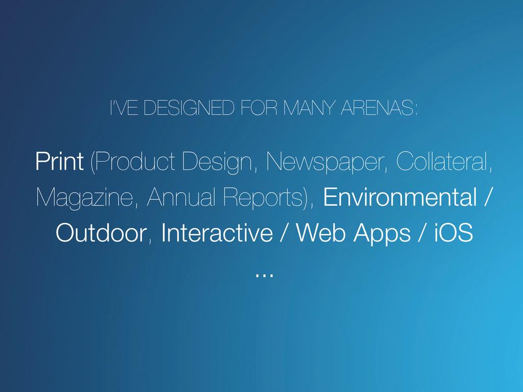 I've designed for many arenas: Print (Product D...