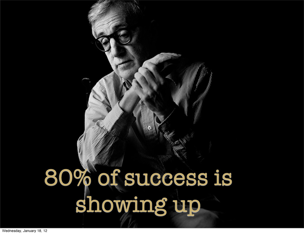 80% of success is showing up Wednesday, January...