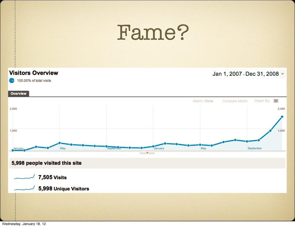 Fame? Wednesday, January 18, 12