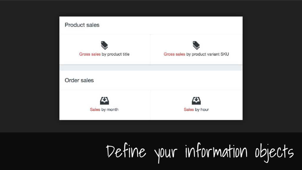 Define your information objects