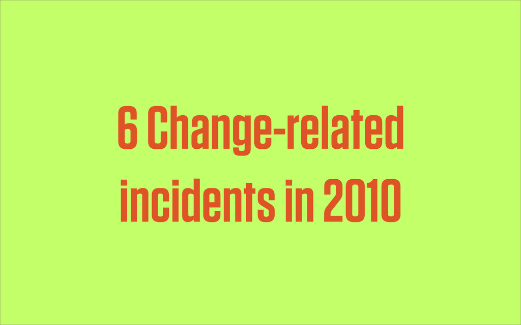 6 Change-related incidents in 2010