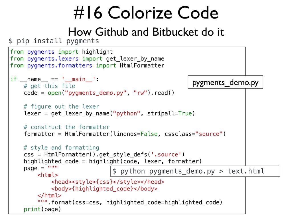 #16 Colorize Code How Github and Bitbucket do i...