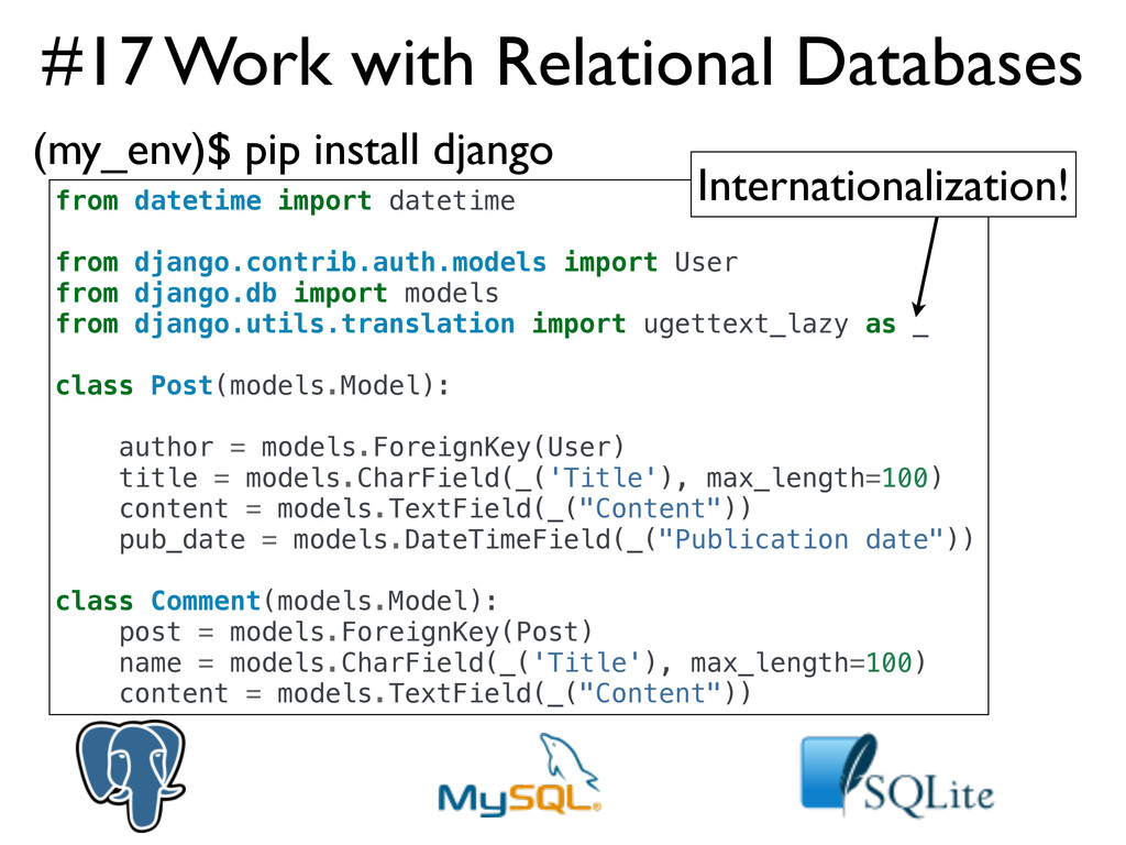#17 Work with Relational Databases from datetim...