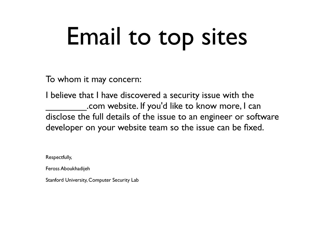 Email to top sites To whom it may concern: I be...