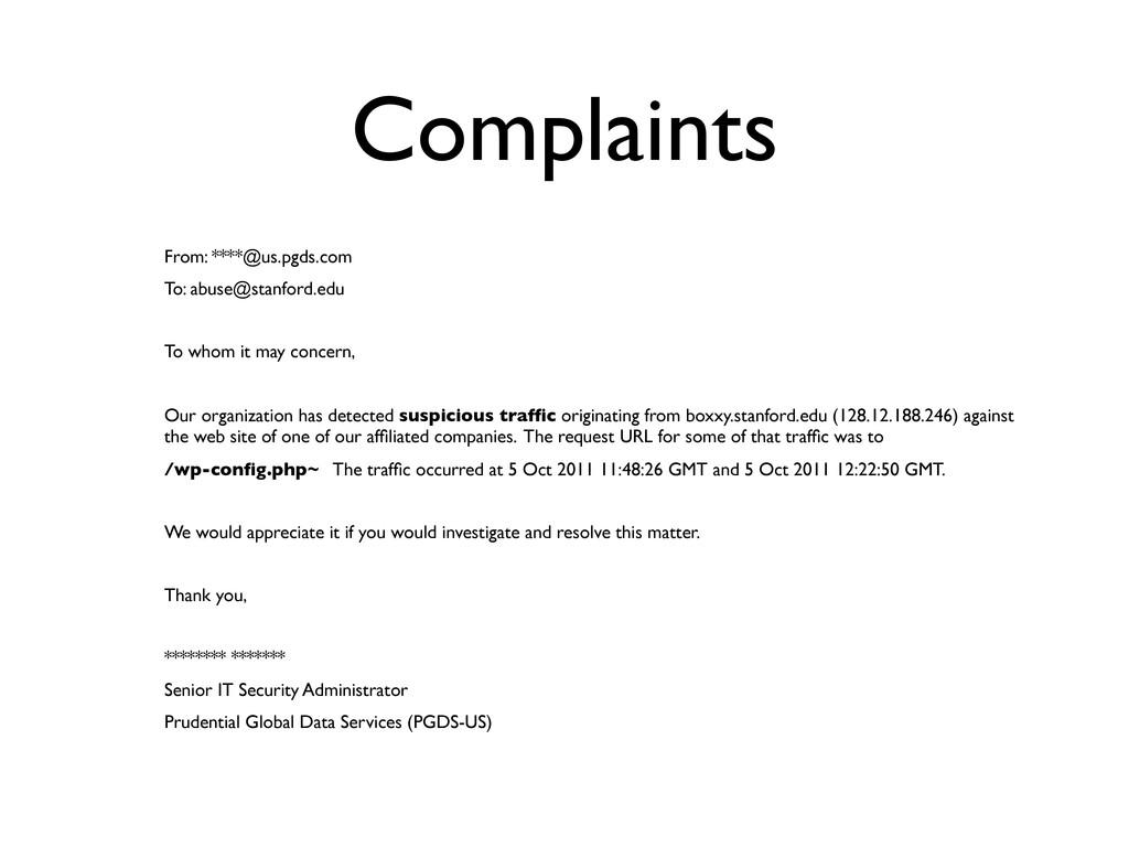 Complaints From: ****@us.pgds.com To: abuse@sta...