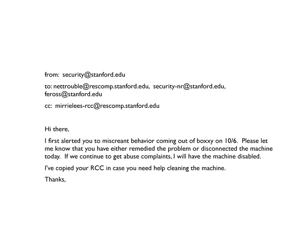 from: security@stanford.edu to: nettrouble@resc...