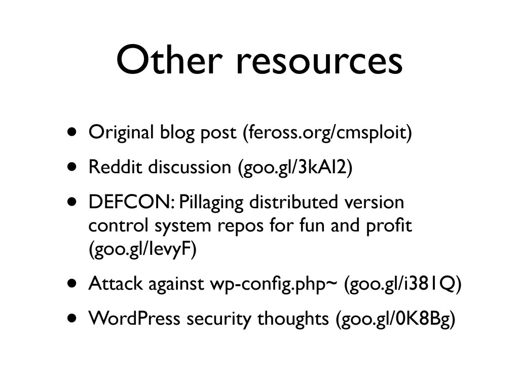 Other resources • Original blog post (feross.or...