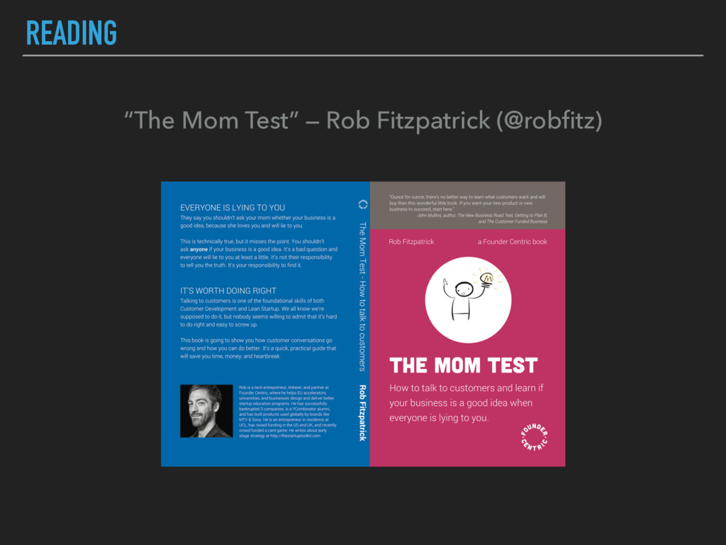 "READING ""The Mom Test"" — Rob Fitzpatrick (@robfi..."