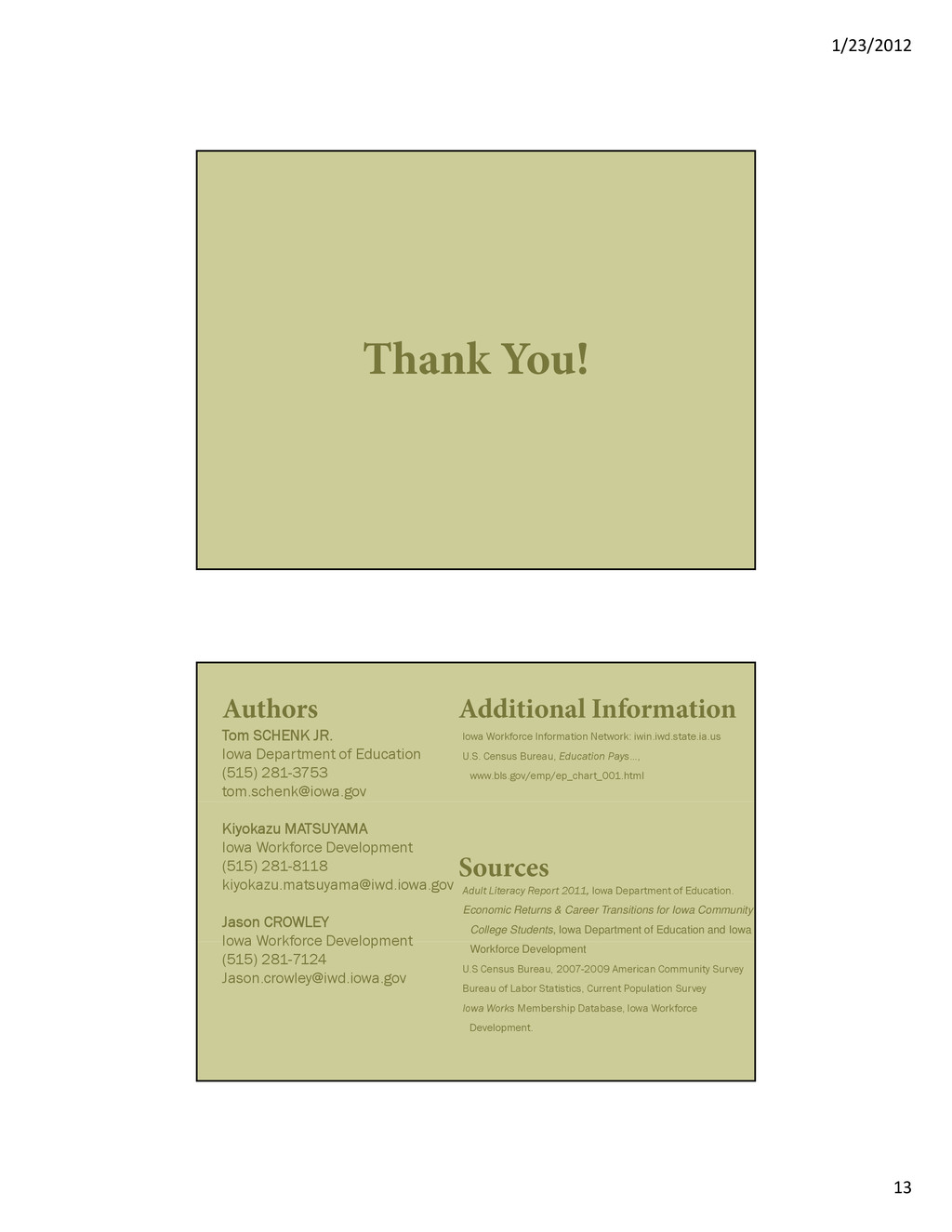 1/23/2012 13 Thank You! Authors Tom SCHENK JR. ...