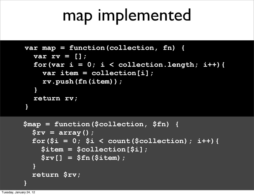 map implemented var map = function(collection, ...