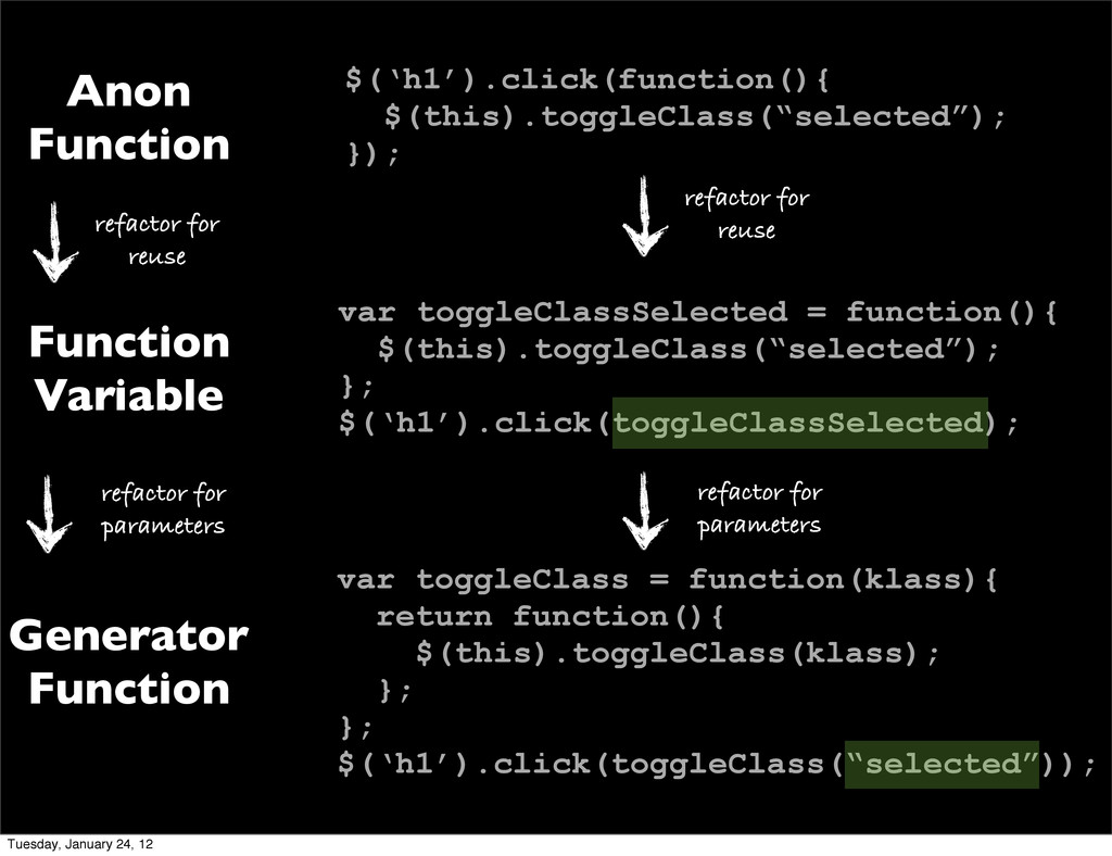 var toggleClassSelected = function(){ $(this).t...