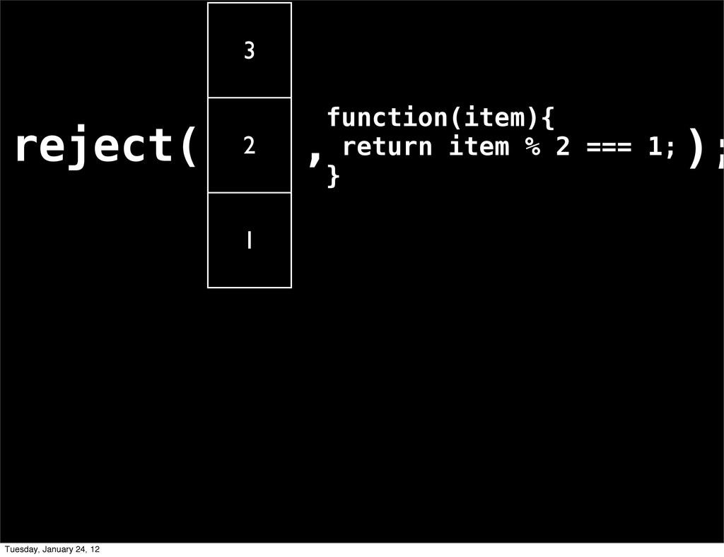 reject( 3 2 1 ,function(item){ return item % 2 ...