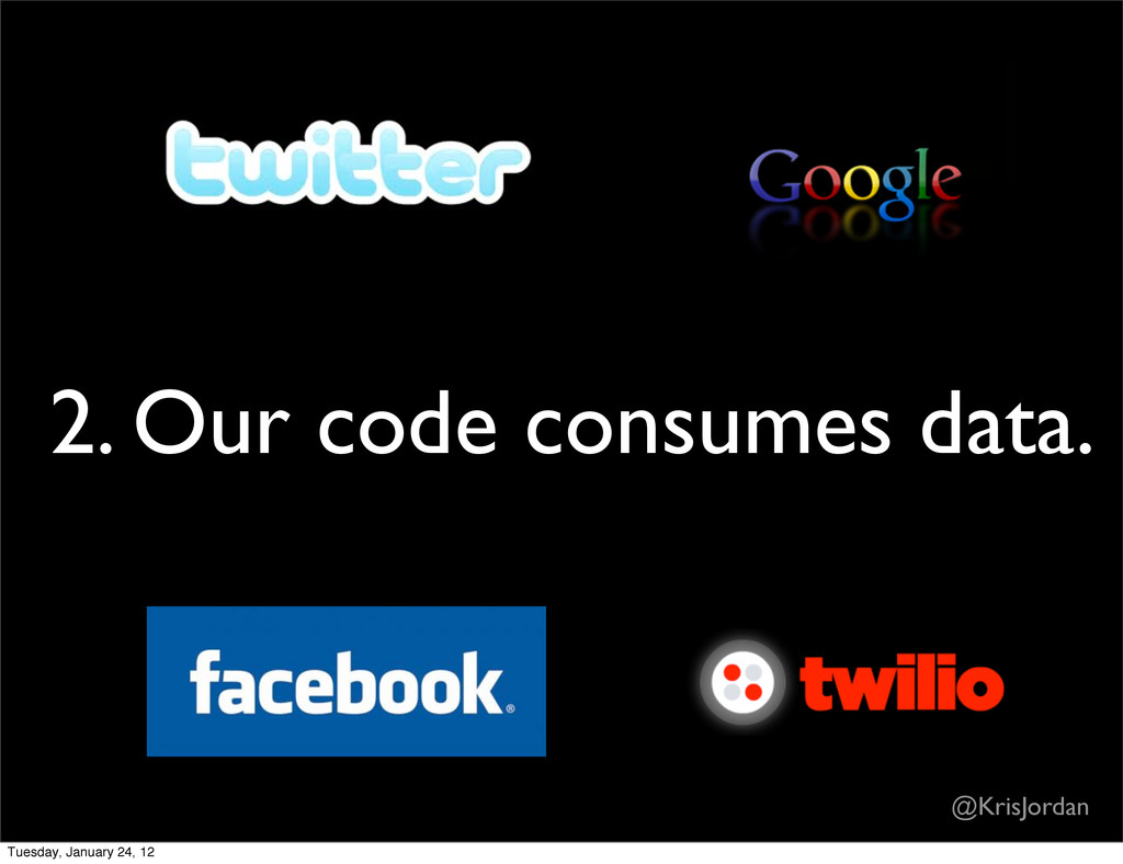 2. Our code consumes data. @KrisJordan Tuesday,...